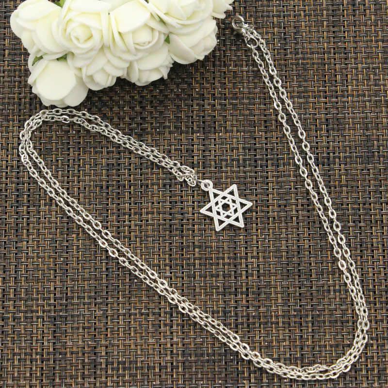 Nova moda colar estrela de david escudo 22mm cor prata pingentes curto longo feminino colar presente gargantilha