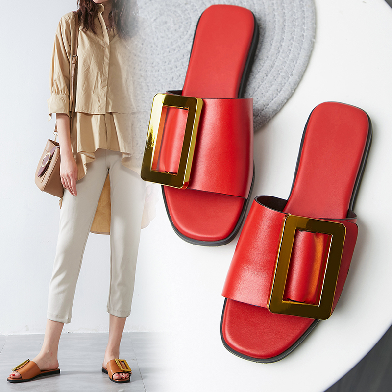 Lapolaka On Sale Big Size 43 Luxury New Arrivals Genuine Leather Flat With Flip Flops Slippers Shoes Woman Fashion women Sandals