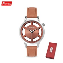 Abrray Gear Hollow Dial Ladies Watch Fashion Quartz Watches For Women PU Leather Blue Strap Casual Elegant Wristwatch Blush Gold