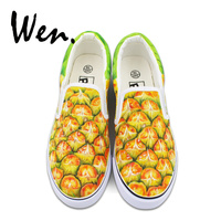 Wen Women Vulcanized Shoes Low Top Flat Original Design Fruit Pineapple Hand Painted Canvas Sneakers Shallow Mouth Slip on