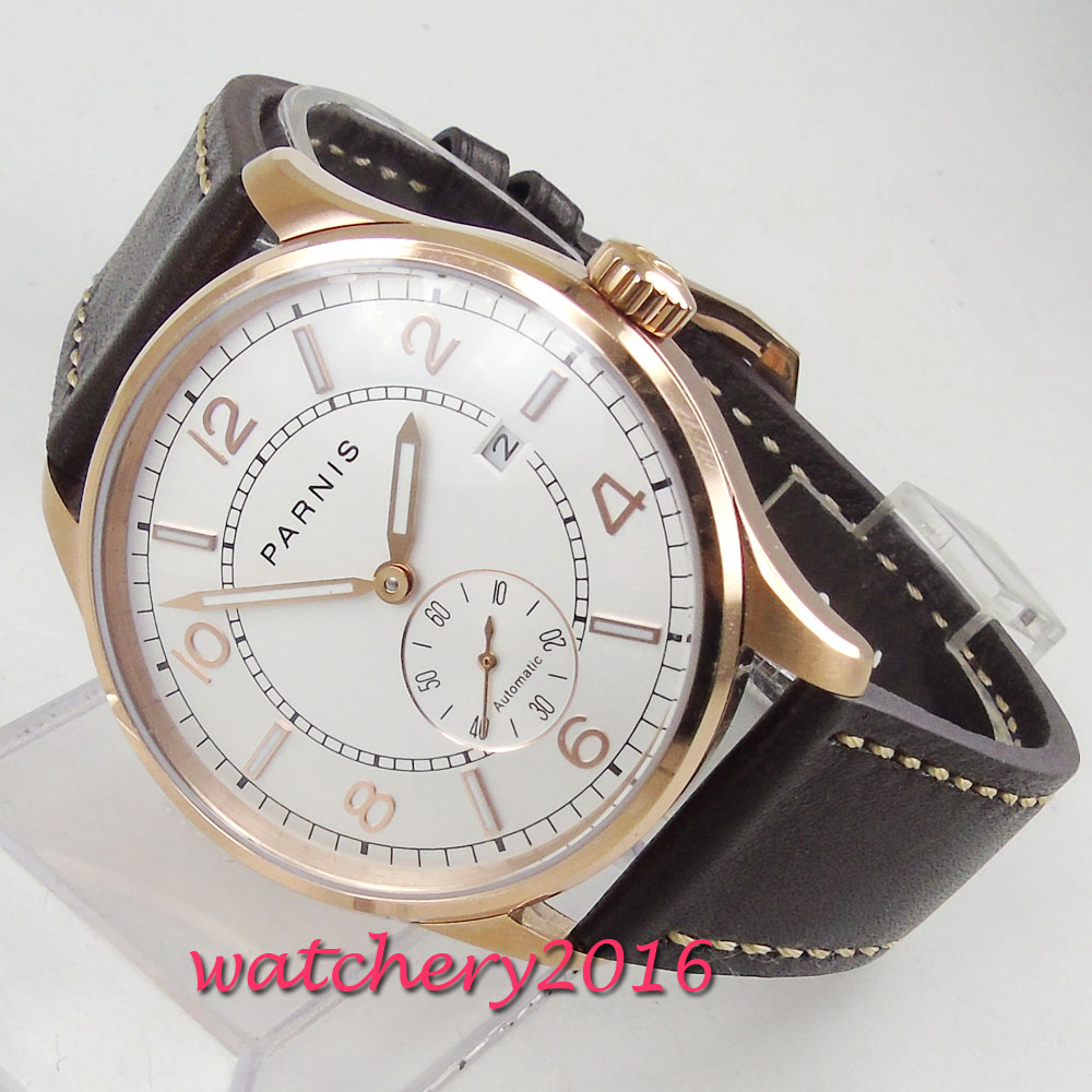 42mm PARNIS White Dial Rose Golden Plated mens Wristwatch mechanical Date ST 1731 Automatic Movement men's Watch цена и фото