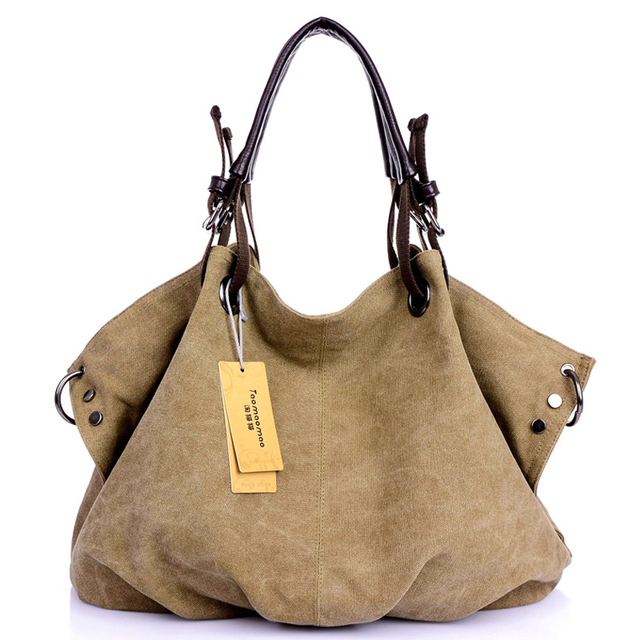 HOT! New High Quality Women Handbags Women Tote Women Clutch Bolsas Femininas Ladies Shoulder Rivet Canvas Bags Women's Bag