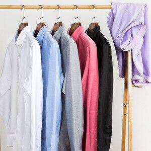 Image 3 - Erkek çizgili % 100% pamuk Oxford uzun kollu elbise gömlek göğüs cebi ile standart fit akıllı Casual düğme aşağı gömlek