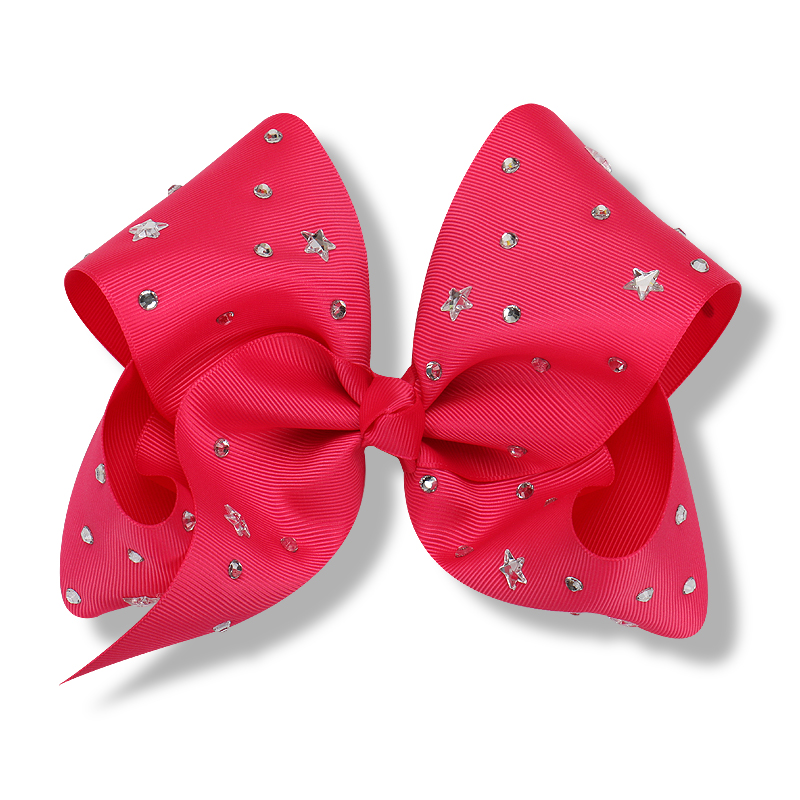 8 inch Large Grosgrain Ribbon Hair Bows for Girls with Clips Star Rhinestone Hair Accessories Alligator Barrette