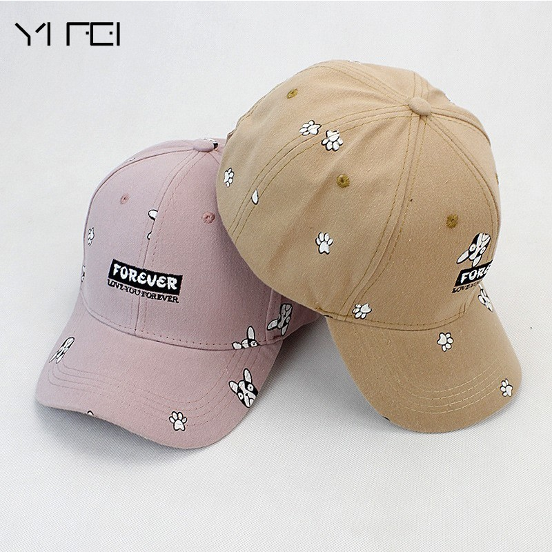 YIFEI Summer  Autumn Baseball Cap Women 2017 Dog Pattern Cute Snapback Hip Hop Cap 100% Cotton Hats Brand  Bone Gorras