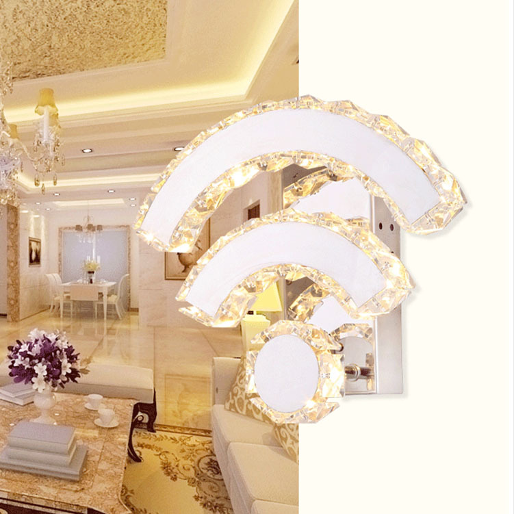 modern fashion creative wifi shape high quality crystal wall lamp 14w led bedside aisle decoration wall light mirror lamp A265