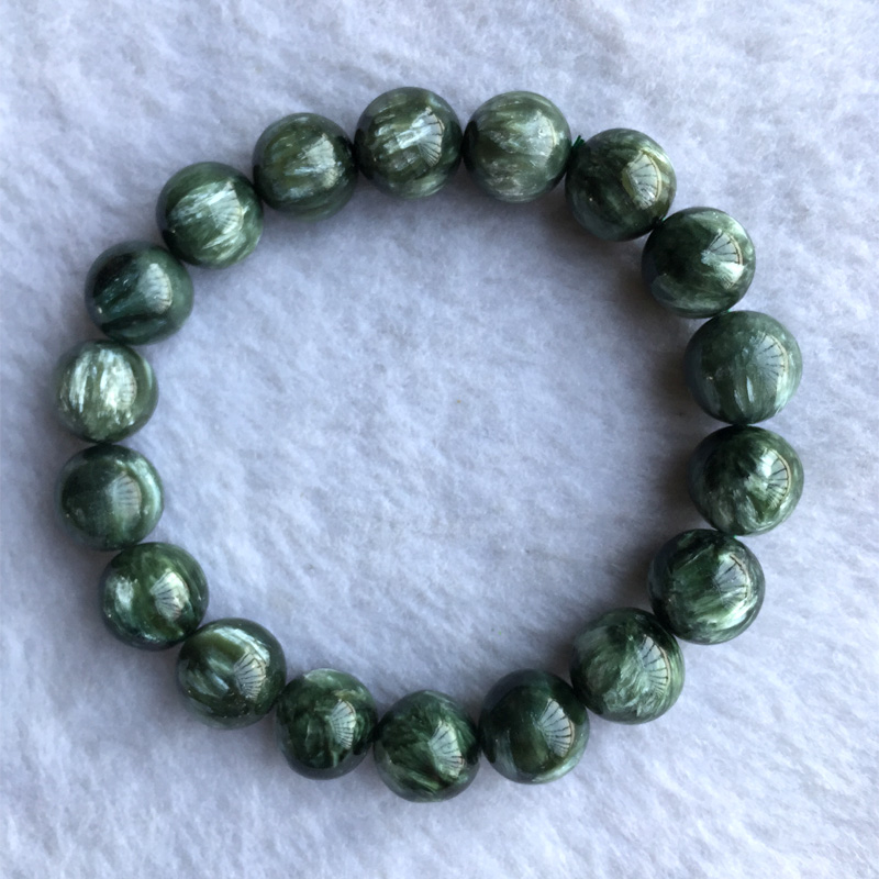 High Quality Natural Genuine Green Seraphinite Stretch Finish Men's Bracelet Round beads 12mm 05153 genuine green seraphinite natural stone crystal round beads 14mm women mens stretch bracelets