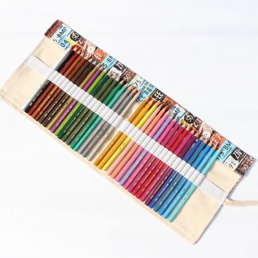 Canvas Pencil Case 36 48 72 Holes Roll School Pencil Bag Large Capacity pencil Escolar Estuche Pencilcase Supplies No Pencils in Storage Bags from Home Garden