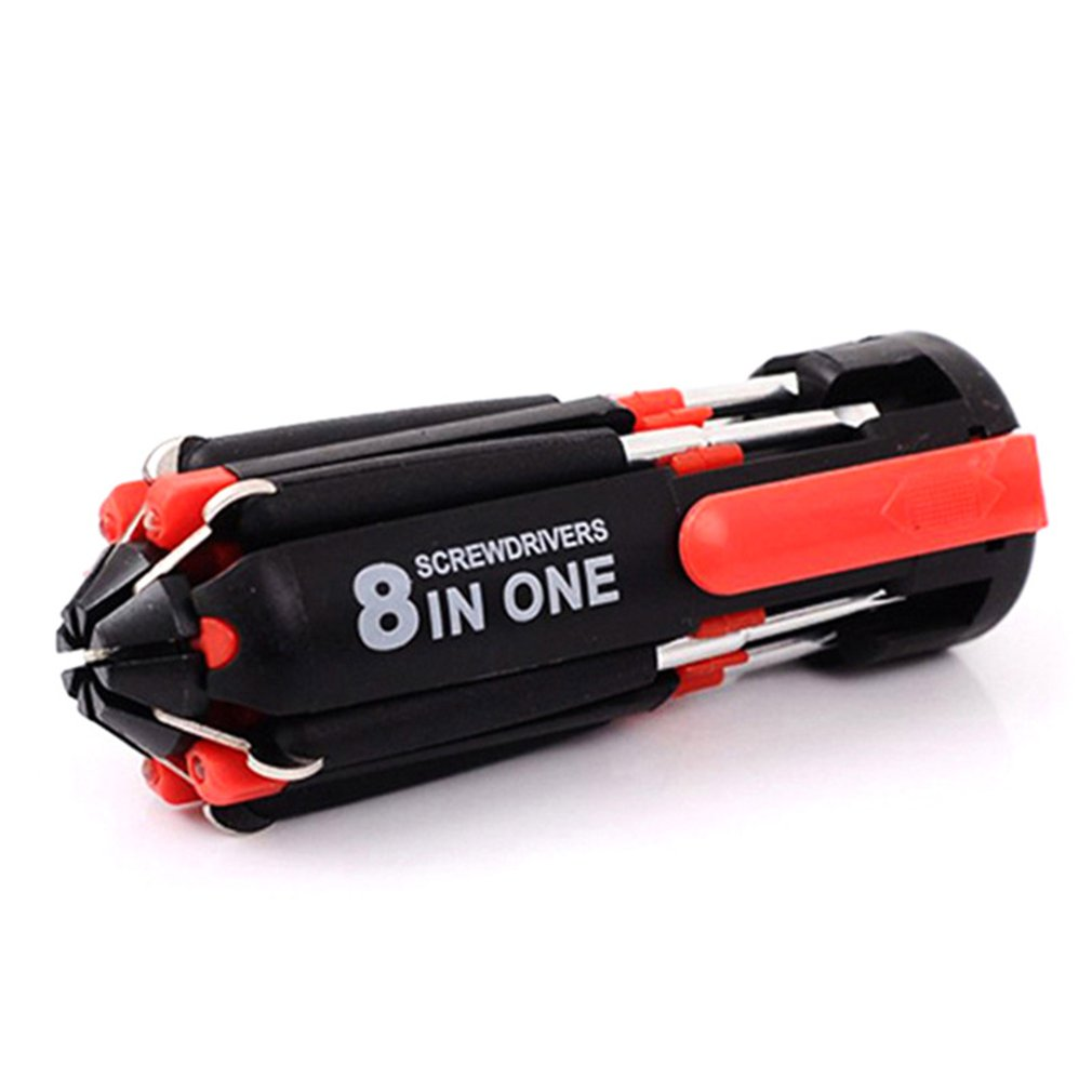 8-in-1 Screwdriver Portable Multifunction Repair Tool Set With 6 LED Torch Flashlight Emergency Multi Tools
