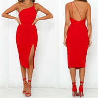 Ladies Women Split bandage Bodycon Dress 2019 Summer Sexy Spaghetti Strap Evening Party Beach Dresses Solid Color Black Red