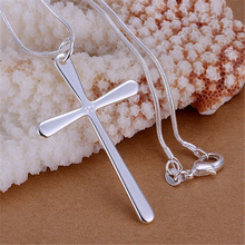 Promotions Free shipping fashion Necklace silver plated charm smooth cross pendant pretty Necklace jewelry P066 Kinsle