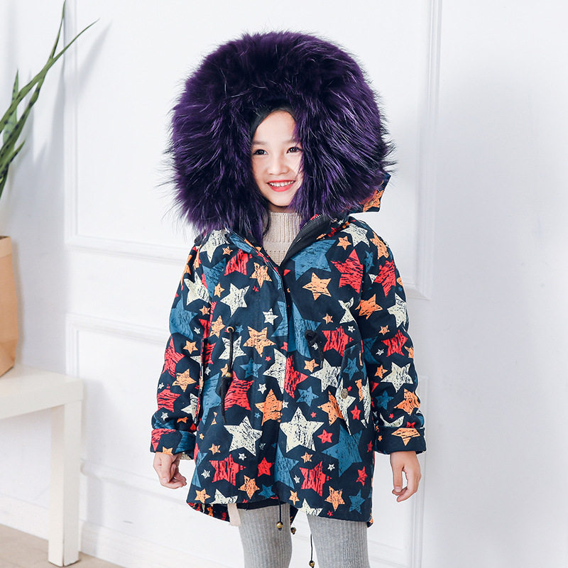Winter Children Real Raccoon Fur Collar Parkas Kids Rabbit Mink Fur Warm Jacket Boys Girls Hooded Real Fox Fur Coat Outwear Y16 boys and girls rabbit fur lining jacket children big fox fur collar coat winter intensive warm jacket children fur collar coat