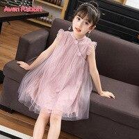Aven Rabbit girls dress cheongsam kids dresses for girls vestido infantil lace princess dress girls summer dress cheongsam