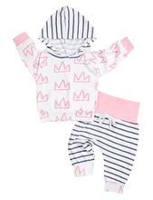Oklady Baby Girl Outfits Florals Hoodie Top with Pocket Striped Long Pants and Headband Clothes Set