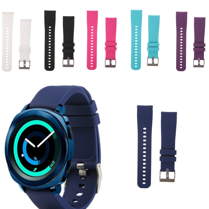 Silicone Watch Strap Wristband For Garmin Vivoactive 3 Samsung Gear Sport S4 Replacement Watch Accessories Black Red Blue