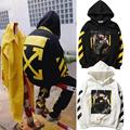 2017 Newes US Hiphop Kanye West Virgil Abloh OFF WHITE Hoodie Stripe Unisex Men Cotton Pullover Hoodie Black White Free Shipping