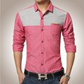 Hot Sell Men Full Sleeve Dress Shirts Slim Patchwork Single Breasted Fashion Turn Down Collar Casual Clothes High Quality Tops