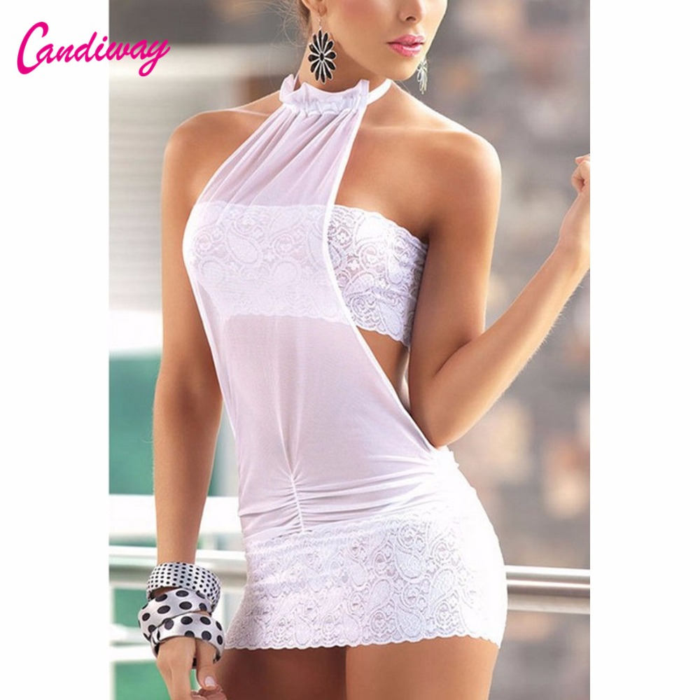Candiway New Lace Exotic Apparel G-String Halter <font><b>Transparent</b></font> <font><b>Backless</b></font> <font><b>Sexy</b></font> <font><b>Dress</b></font> Erotic Lingerie <font><b>Dresses</b></font> Women <font><b>Sexy</b></font> Costumes image