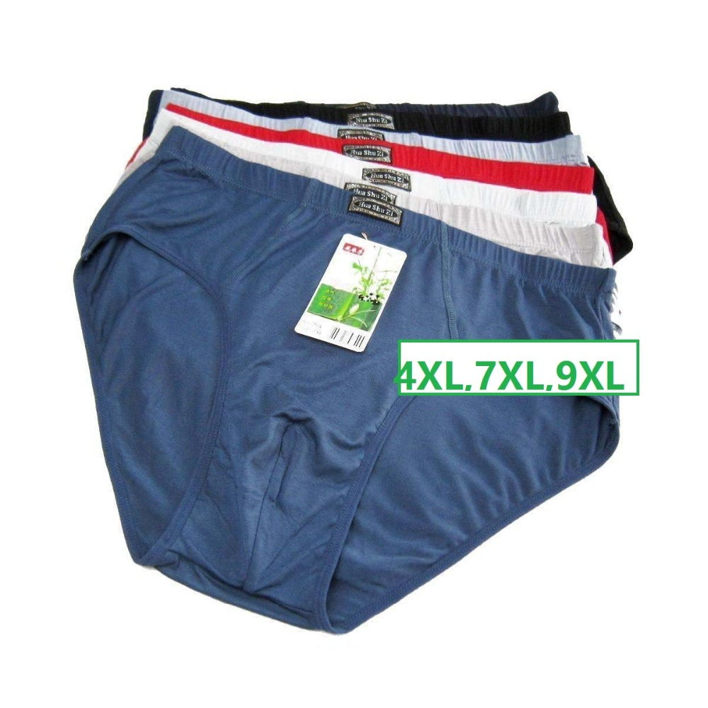 Buy 4XL,7XL,9XL Solid Briefs Mens  Underwear Male panties Bamboo fiber comfortable breathable underwears 4pcs/lot