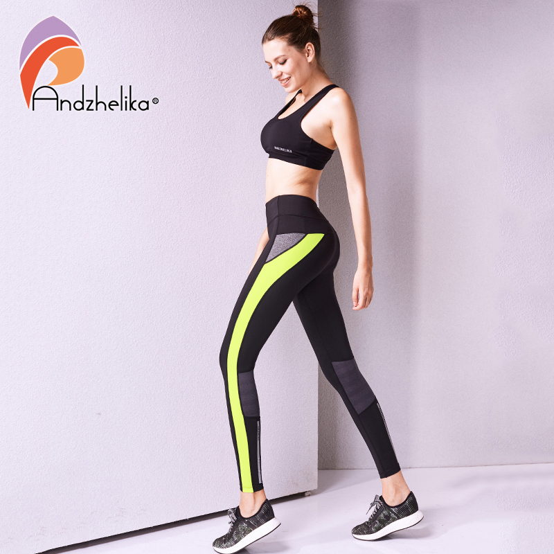 Andzhelika Women Yoga Pants High Quality Slim Running Fitness Leggings Elastic Sexy Compression Tights Breathable Sports Pants sexy sports bra and leggings