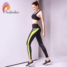 Andzhelika المرأة اليوغا السراويل عالية الجودة سليم الجري اللياقة ضغط مرنة مثير الجوارب تنفس السراويل الرياضية