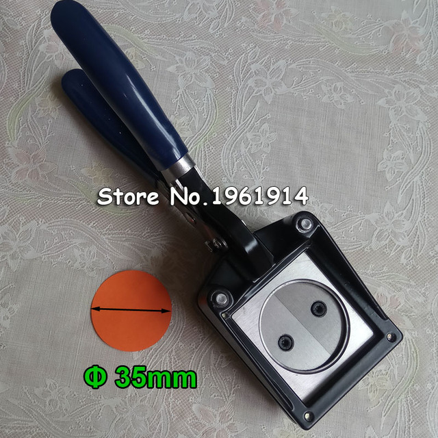 "NEW Hand Held Manual Rodada 25mm 1 ""(Tamanho do Corte Real 35 MM) papel Gráfico Soco Die Cortador para Pro Button Maker"