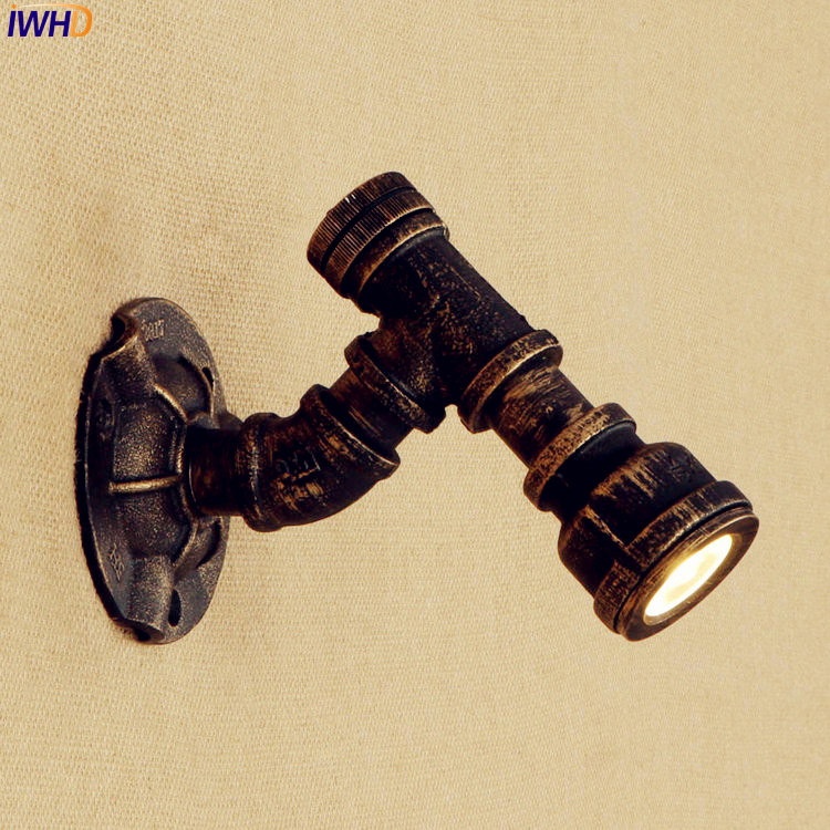 IWHD Vintage Water Pipe Wall Lamp Bedroom Iron Metal Rust Retro Loft Industrial Wall Lights Fixtures Home Lighting Luminaire iwhd water pipe loft industrial vintage led wall lamp iron water pipe wall lights wall sconces fixtures for indoor home lighting