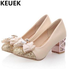 NEW Children High heeled Crystal Shoes Girls Rhinestone Bowtie High Heels Dance Shoes Student Kids Leather