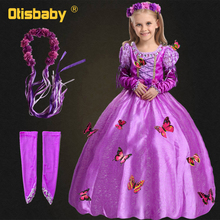 Halloween Costume Girls Tangled Rapunzel Dress Kids Floral Butterfly Dress Arm Sleeves Party Gorgeous Gowns for Children Girls abgmedr 2018 tangled dress girls princess dresses children clothing costume tangled rapunzel dress kids holiday party clothes