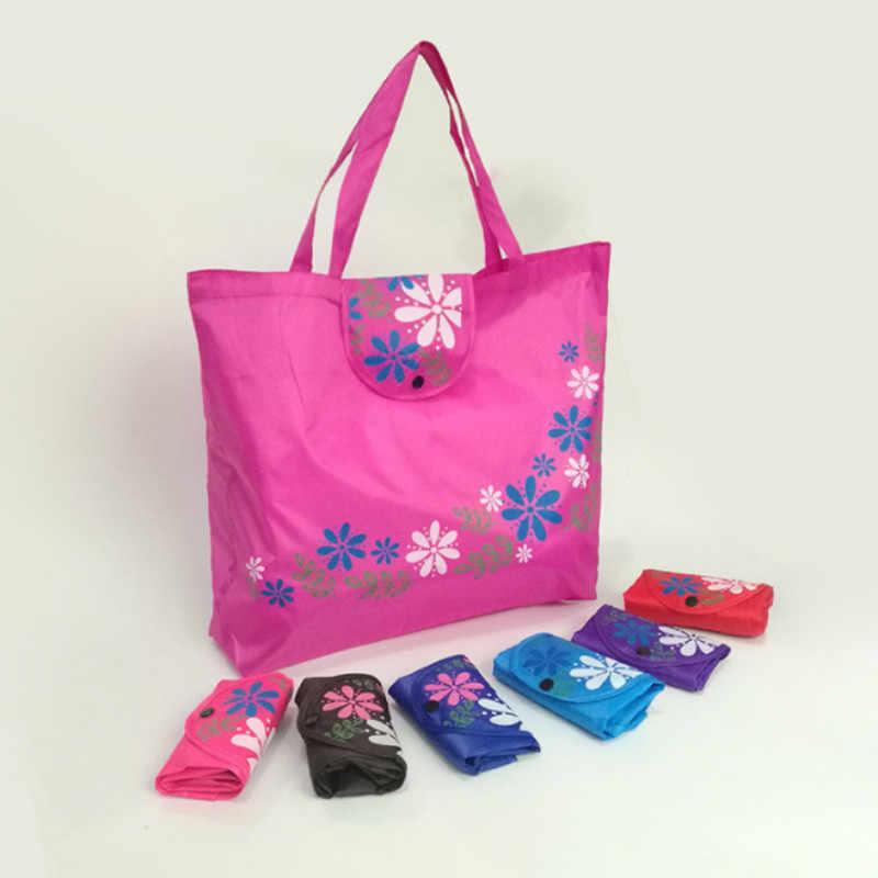 370f69847c Printing Flowers Reusable Shopping Bag Large Capacity Foldable Tote  Handbags Oxford Large Bag