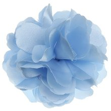 Women Girls Satin Peony Flower Hair Clip Brooch — Light Blue