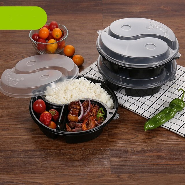 Kcasa 1pc round 3 compartment disposable lunch box microwavable kcasa 1pc round 3 compartment disposable lunch box microwavable dinning food container lunch boxes tableware dinnerware forumfinder Gallery