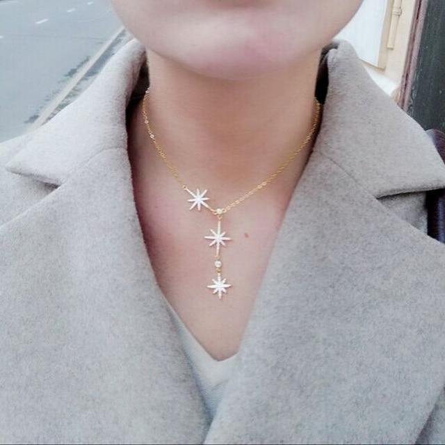 599cb745e8ae Delicado nuevo AAA cz Micro Pave circón flor estrella encanto plata oro  capa gargantilla cadena boda