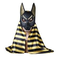 מצרי אנוביס קוספליי פנים מסכת PVC Canis spp וולף ראש תן בעלי החיים Masquerade אבזרי מסיבת ליל כל הקדושים תחפושת כדור