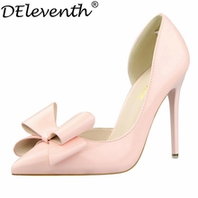 2016 Autumn Fashion New Slip-on Shoes Women Bow-ties Pointed Toe High Heels Sweet Candy Colour Patent Leather Elegant Pumps