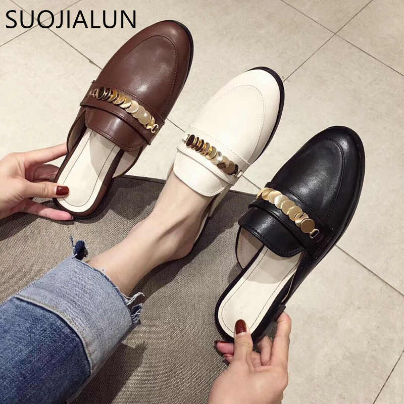 d0856487b9c33 SUOJIALUN Women Slippers Flat Causal Mules Metal Chain British Shoes  Platform Outside Sandals Slip On Flat