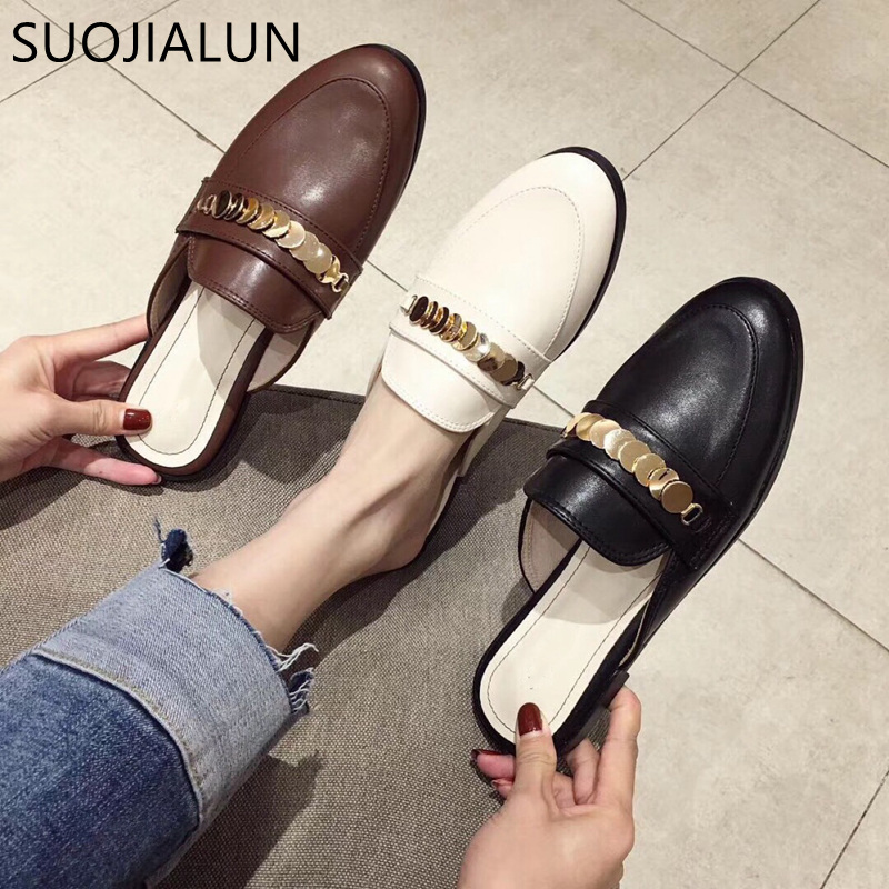 SUOJIALUN Women Slippers Flat Causal Mules Metal Chain British Shoes Platform Outside Sandals Slip On Flat Slippers Ladies ShoesSUOJIALUN Women Slippers Flat Causal Mules Metal Chain British Shoes Platform Outside Sandals Slip On Flat Slippers Ladies Shoes