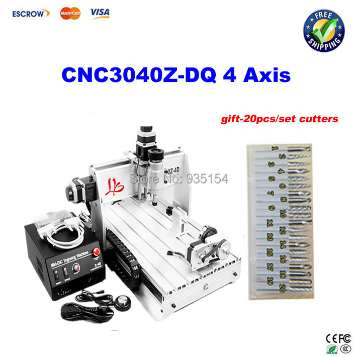 4 axis CNC 3040 Z-DQ Ball Screw CNC Router Engraving Machine For PCB/Wood+ 20pcs drill bits free shipping cnc 3040 z dq 4 axis 3d wood engraving machine pcb carving router with ball screw tool auto checking instrument