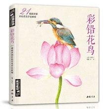 Lápis de cores flores e pássaros desenho tutorial livro de arte realmente pintados à mão flores e plantas imagem álbum pintura livro