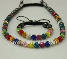 Summer Multicolour jewelry set Gift Shamballa bracelet & necklace for clay crystal beads +Free Shamballa earring