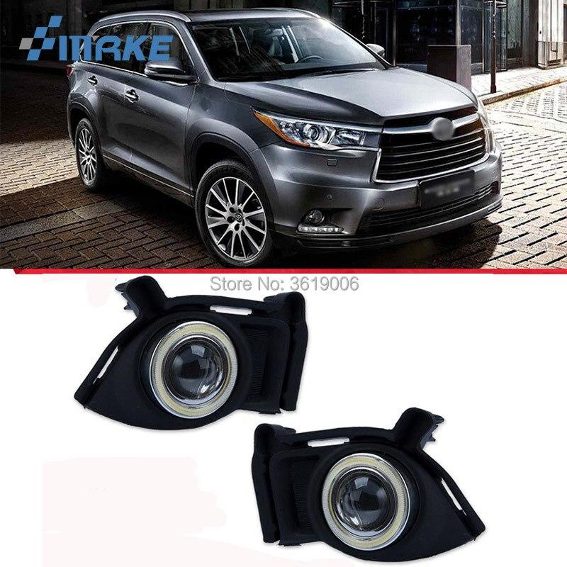 Fog Lamp Assembly LED Day Light COB Angel Eyes Foglight Daytime Running Light Lens Bumper For Toyota Highlander Kluger 2015 2017