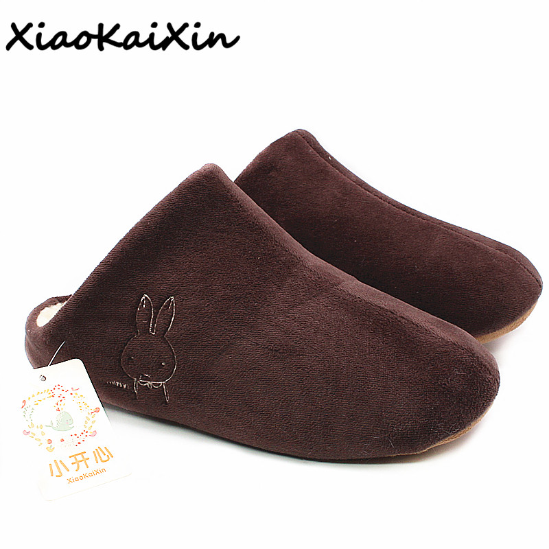 Japanese Lovers Indoor Floor Home Slippers 2018 Winter Warm Women Cashmere House Shoes Cute Rabbit Embroider Slipper Men Guests fashion lovers striped home indoor floor slippers winter women confinement warm foot slipper men casual house non slip shoe