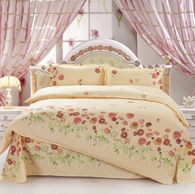 4PCS Twin Full Size Brown Orange Peony Flowers Green Yellow Floral Bedding Shabby Chic Luxury