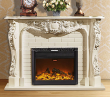European style living room decorating warming fireplace W165cm wooden mantel plus electric insert LED optical artificial flame