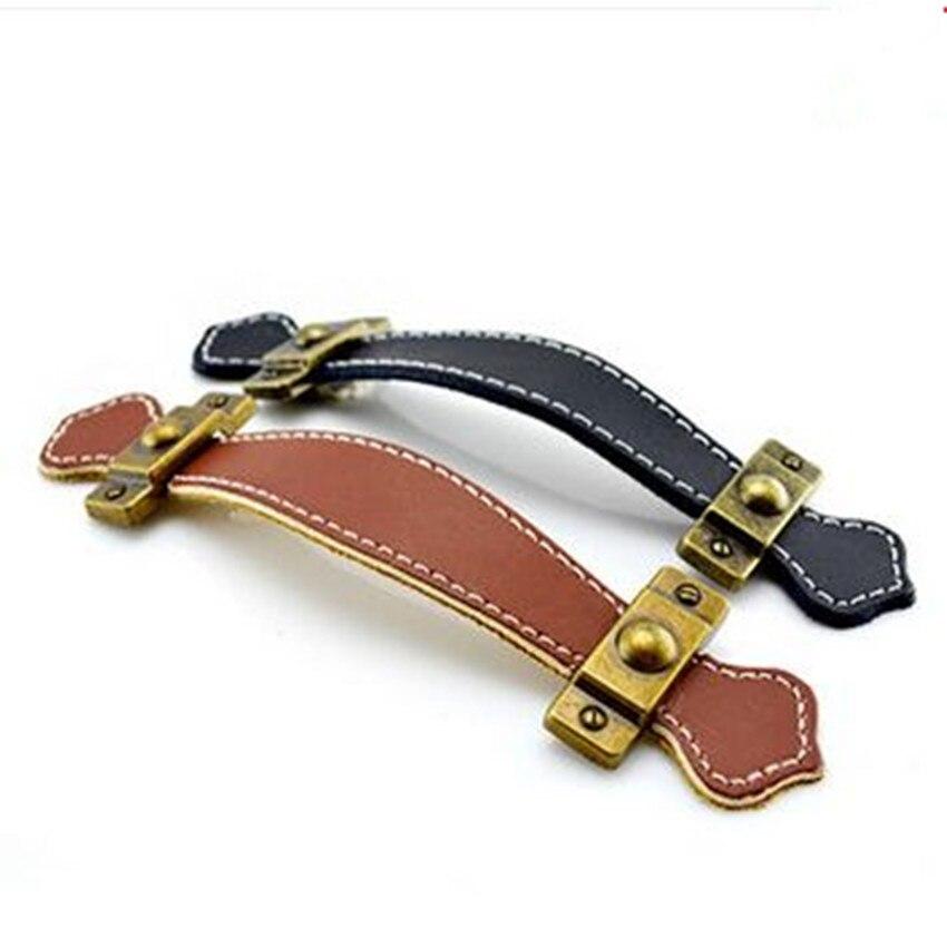 96mm 128mm safety genuine leather furniture handles bronze BAG ZONE pulls brown black drawer cabinet leather handle knob  5 bronze brown