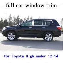 Car Exterior Accessories  Stainless Steel full Window Trim for Toyota Highlander 2012 2013 2014 with center pillar