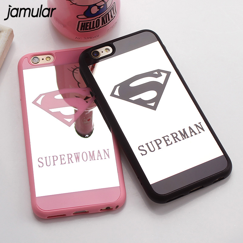 JAMULAR Superman Mirror Surface Case For iPhone 7 Plus 5s SE Chrome Back Cover For iPhone 6s 6 Plus 8 Plus Cases Coque Fundas