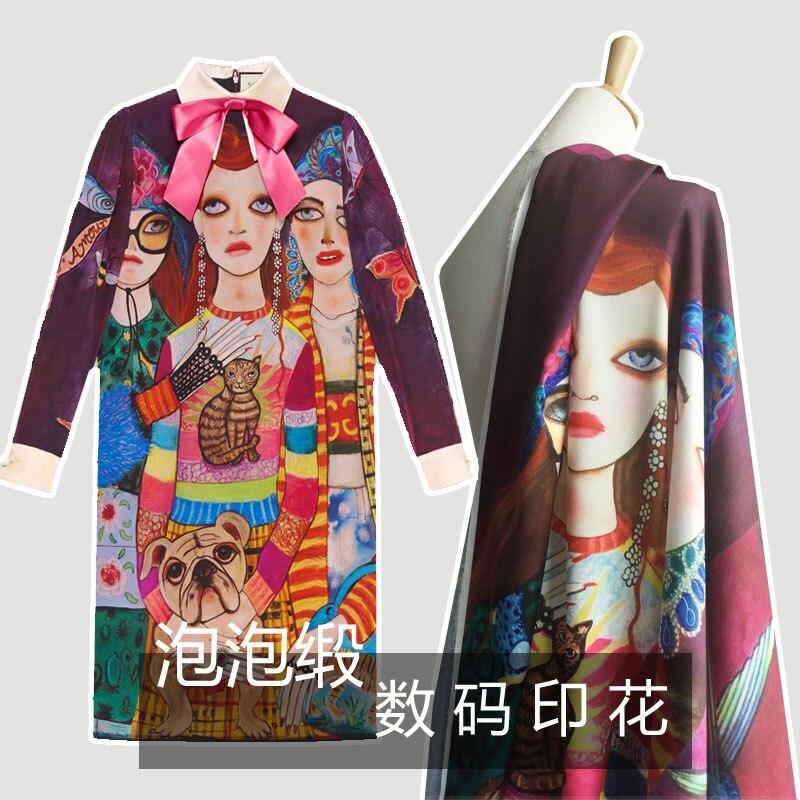 1 Psc Yqx Dg Frühling Und Sommer Tuch 3 Weibliche Figuren Portrait Digital Bedruckten Stoff Für Shirt Fein Verarbeitet