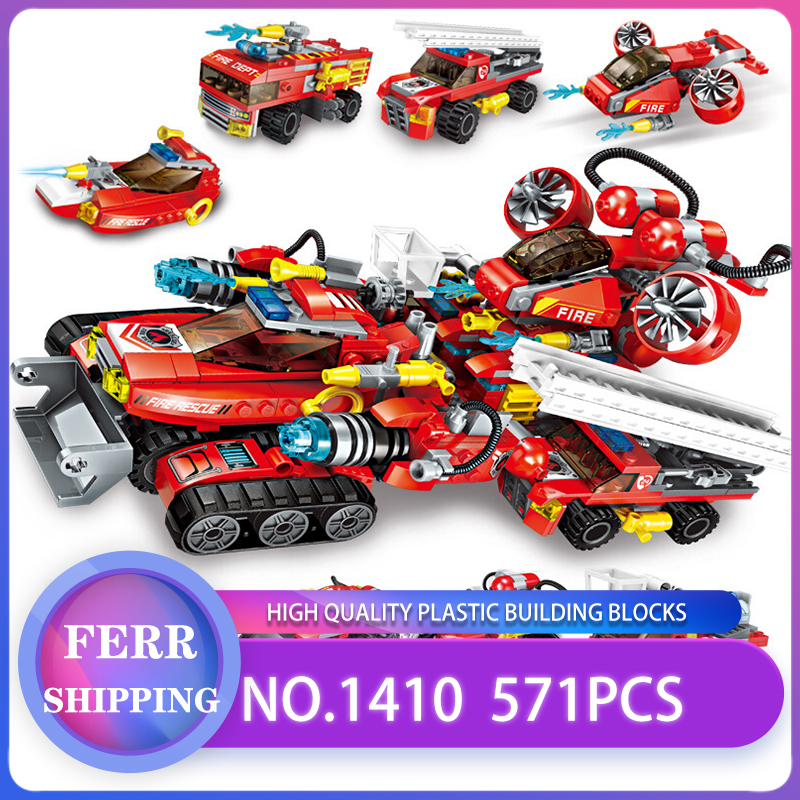 ENLIGHTEN 1410 571Pcs 8 In 1 City Fire Engineering Military Truck Building Block Toys Compatible With Legoe Gift For Children