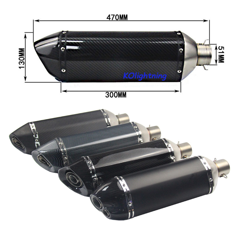 38-51mm Motorcycle Exhaust Universal Muffler Real Carbon Fiber Modified Exhaust Pipe with DB Killer Silencer Pipe Tail Vent Pipe length 360mm id 51mm carbon fiber motorcycle exhaust muffler pipe with silencer case for cb600 mt07 yzf duke fz6 atv dirt bike